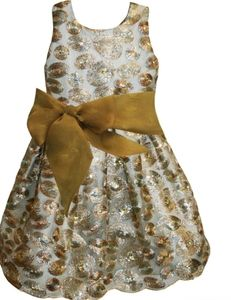 Isabel Garetton Gold silver sequin swirls dress 12